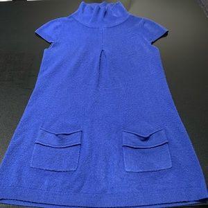 Other - Blue Short Sleeve Knit Turtleneck Sweater Dress